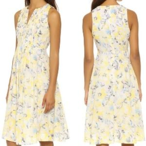 REBECCA TAYLOR Summer yellow floral dress V-neck 0